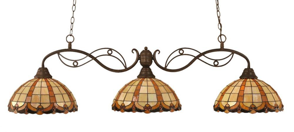 Concord 3-Light Ceiling Bronze Billiard Bar with a Butterscotch Tiffany Glass