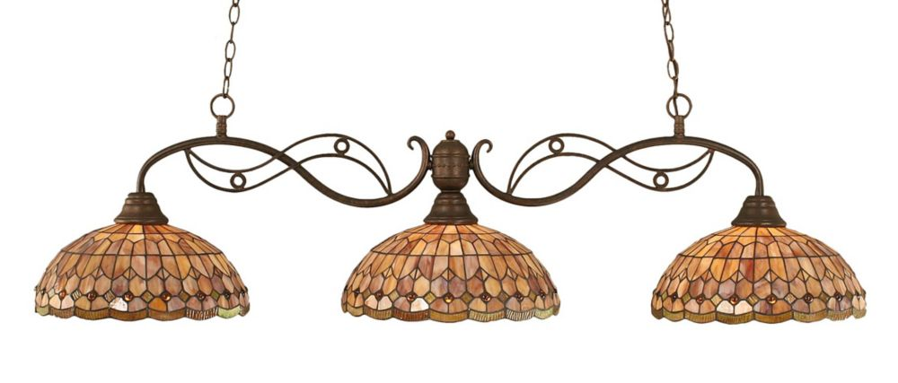 Concord 3 lumières plafond Bronze Incandescent Bar de billard avec A Rosetta Le verre selon Tiffa...