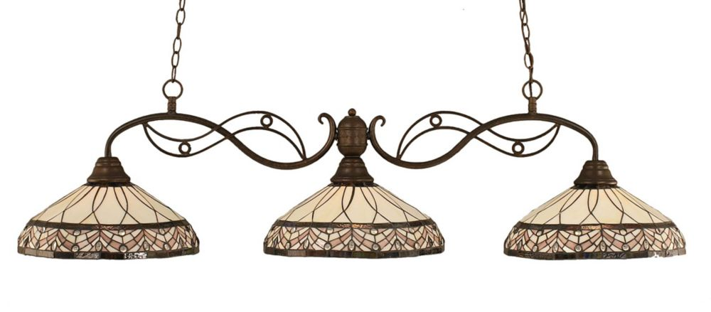 Concord 3-Light Ceiling Bronze Billiard Bar with a Royal Merlot Tiffany Glass