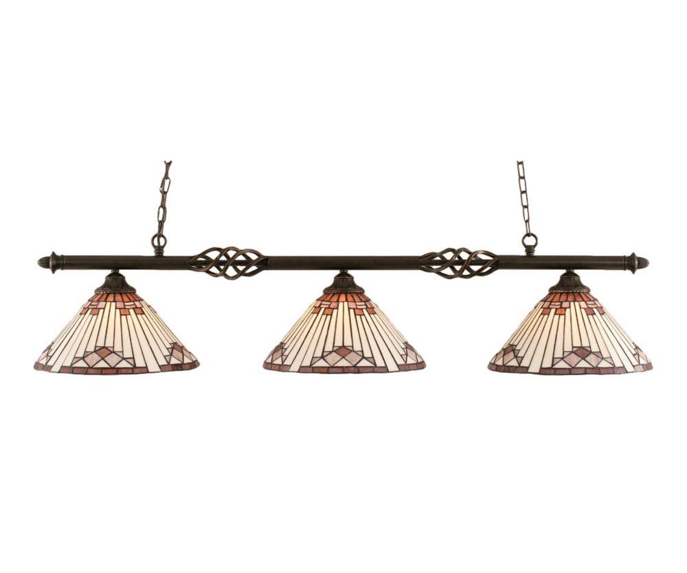 Concord 3 lumières plafond granite foncé incandescence Bar Billard avec un mauve Sunray Le verre ...
