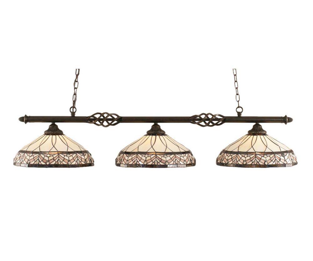 Concord 3-Light Ceiling Dark Granite Billiard Bar with a Royal Merlot Tiffany Glass
