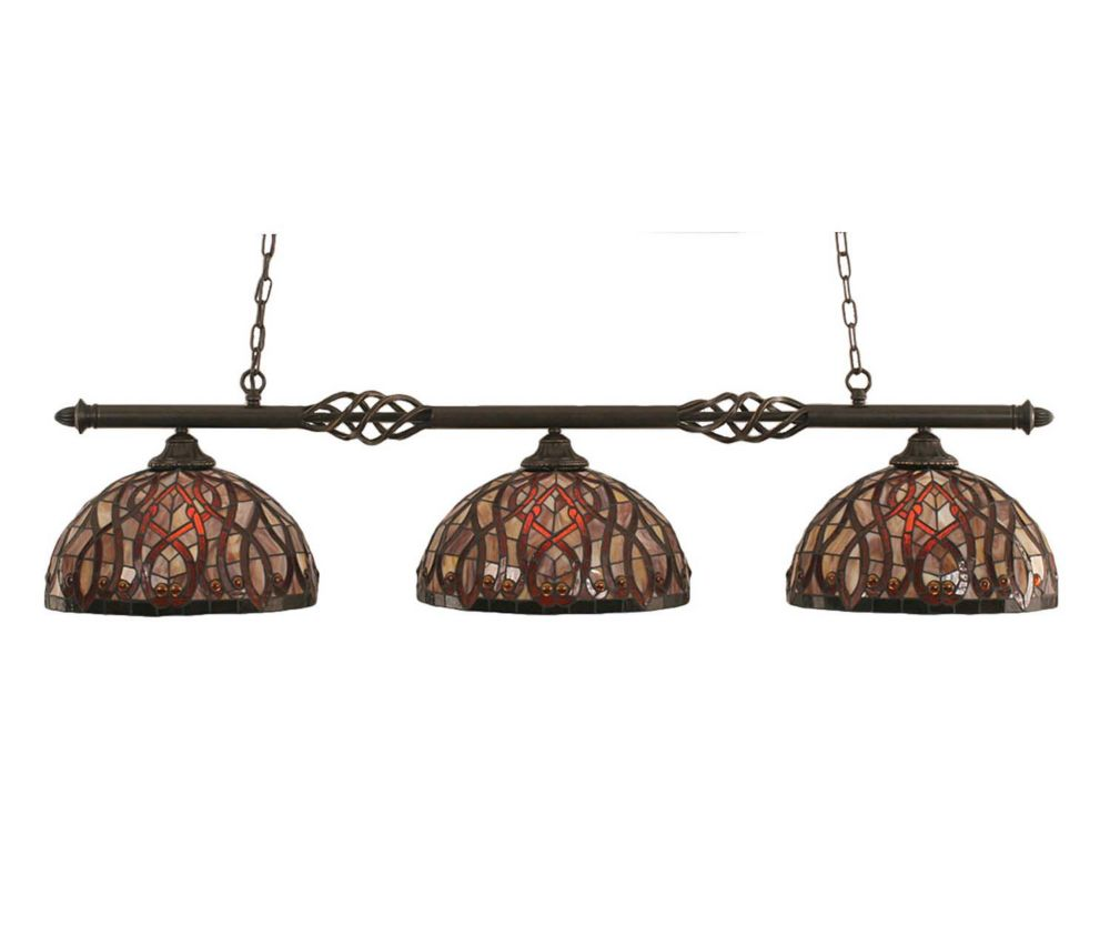Concord 3 Light Ceiling Dark Granite Incandescent Billiard Bar with a Persian Nites Tiffany Glass