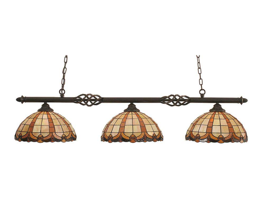 Concord 3 lumières plafond granite foncé incandescence Bar Billard avec un caramel au beurre verr...