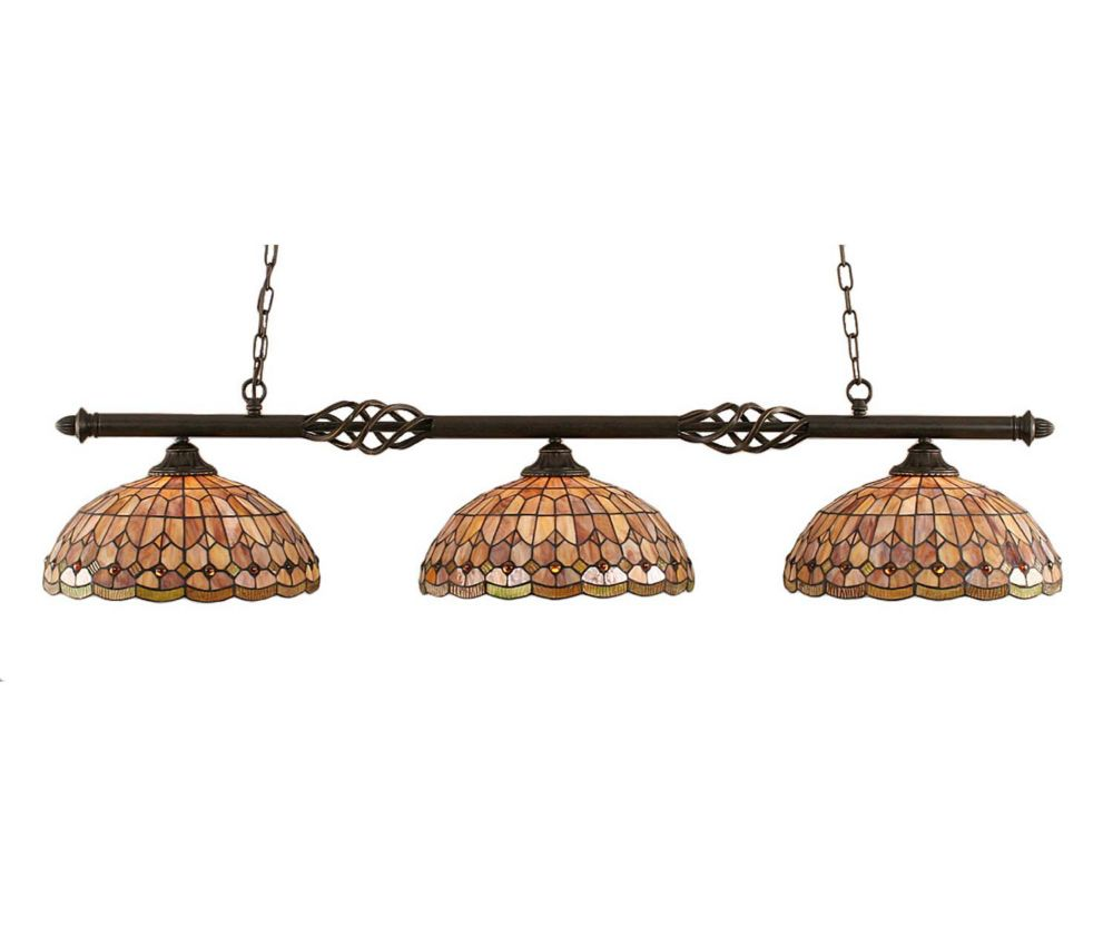 Concord 3 Light Ceiling Dark Granite Incandescent Billiard Bar with a Rosetta Tiffany Glass