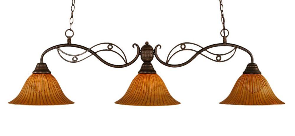 3 lumières plafond Bronze Incandescent Bar Billard avec un verre Tiger