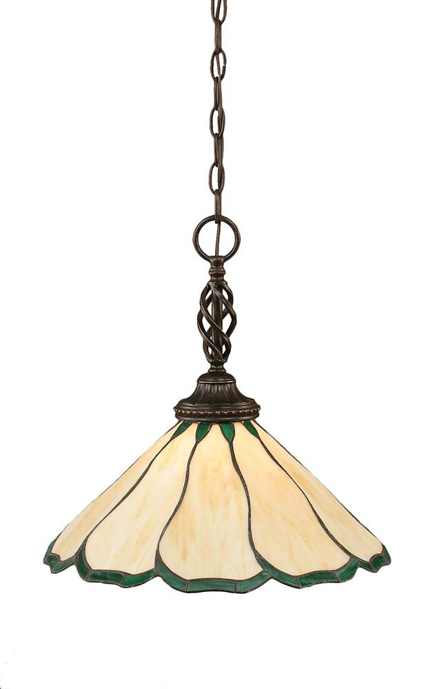 Concord 1-Light Ceiling Dark Granite Pendant with a Honey and Green Tiffany Glass