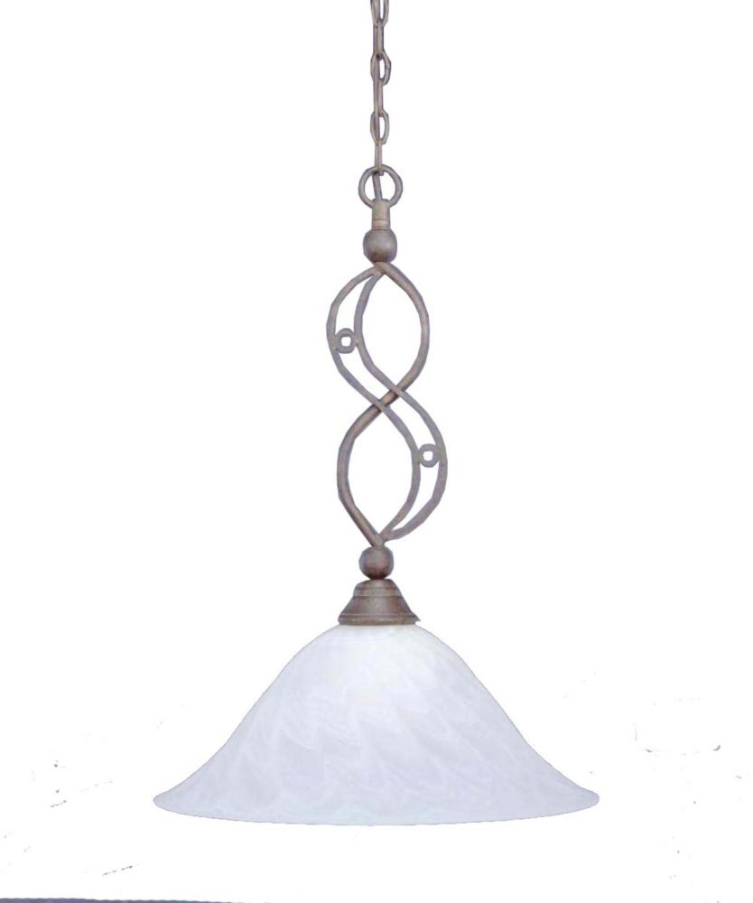 Concord 1 Light Ceiling Bronze Incandescent Pendant with a Swirl Glass