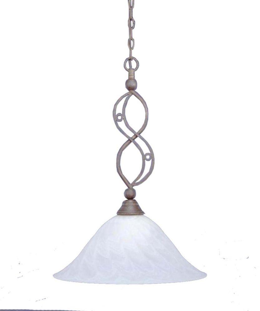 Concord 1 lumière au plafond Bronze Pendeloque à incandescence avec un verre de remous