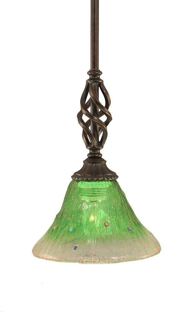 Concord 1 Light Ceiling Dark Granite Incandescent Pendant with a Green Crystal Glass