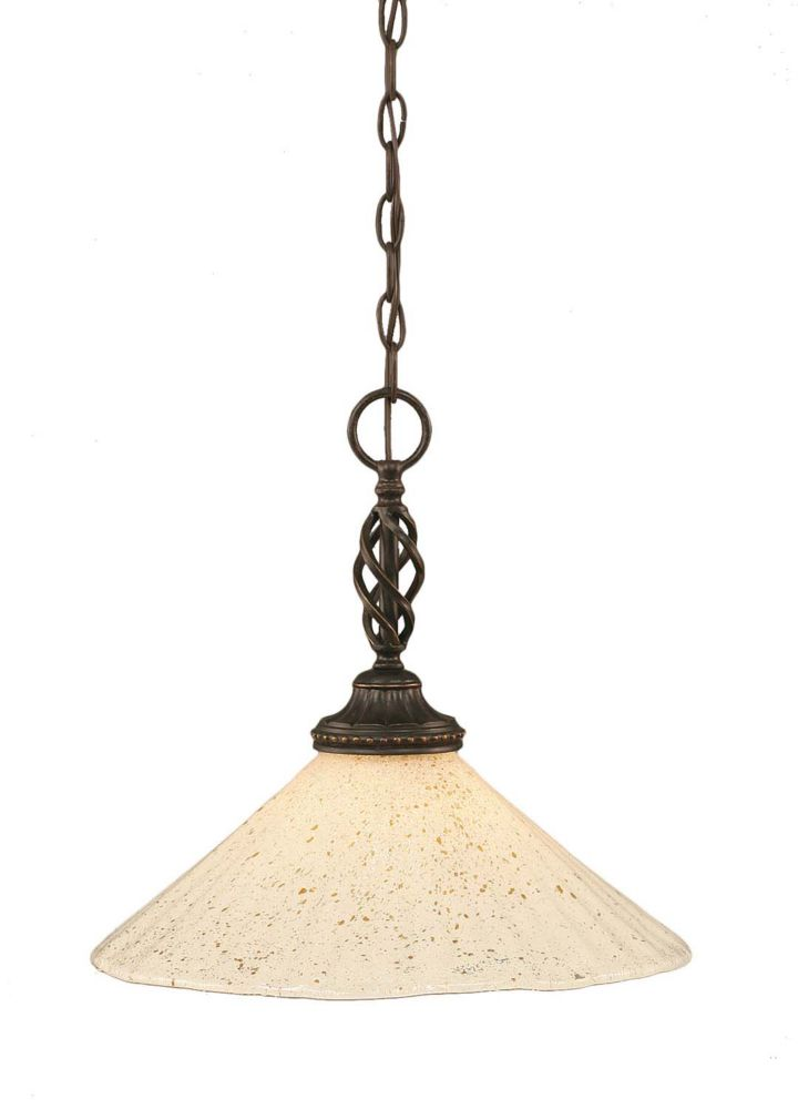 Concord 1 Light Ceiling Dark Granite Incandescent Pendant with a Gold Crystal Glass