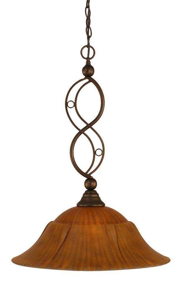 Concord 1 lumière au plafond Bronze Pendeloque incandescence par une Tiger