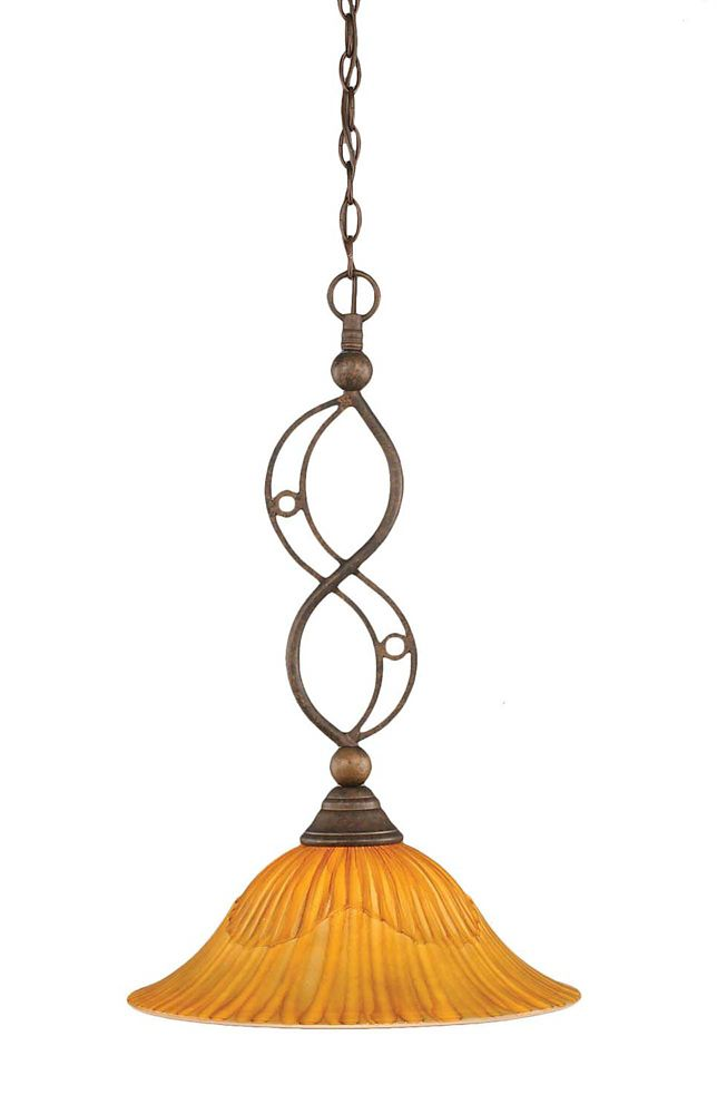 Concord 1 Light Ceiling Bronze Incandescent Pendant with a Tiger Glass
