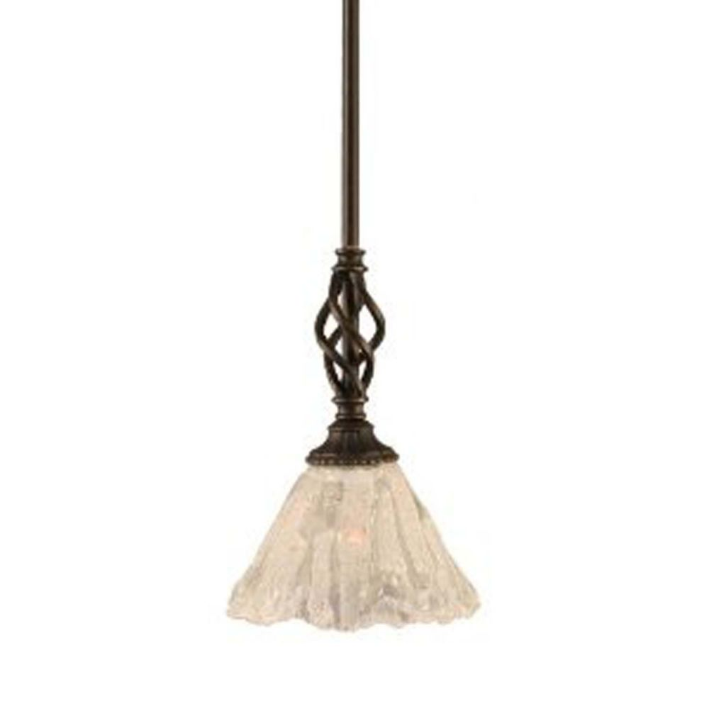 Concord 1-Light Ceiling Dark Granite Pendant with a Clear Crystal Glass