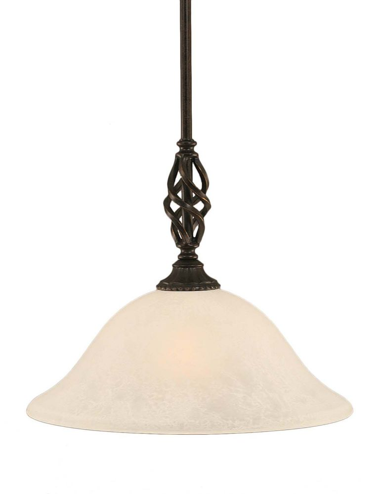 Concord 1-Light Ceiling Dark Granite Pendant with a White Marble Glass