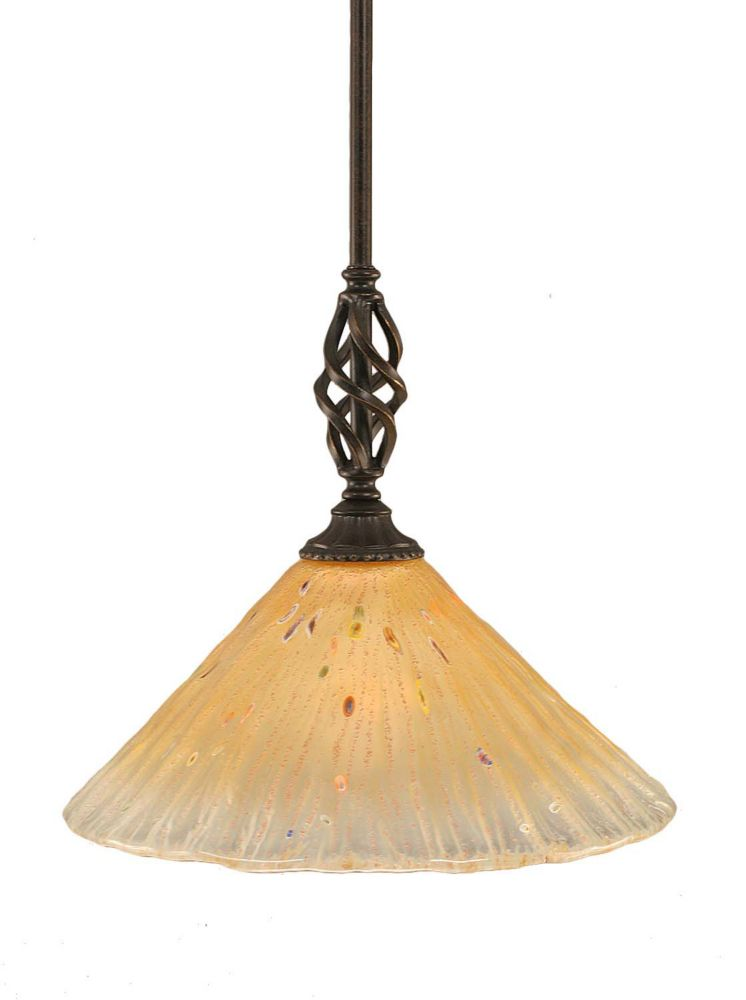 Concord 1-Light Ceiling Dark Granite Pendant with an Amber Glass