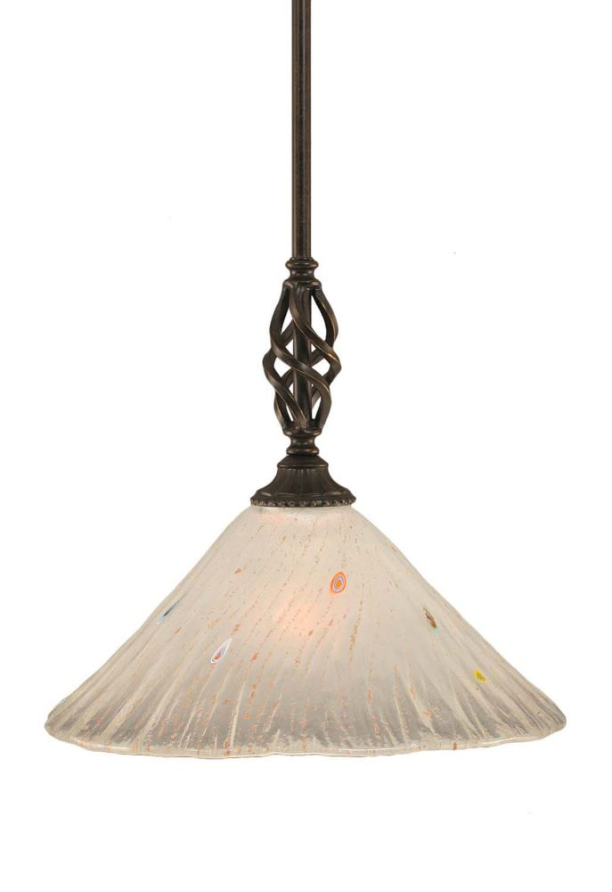 Concord 1 Light Ceiling Dark Granite Incandescent Pendant with a Frosted Crystal Glass