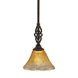 Filament Design Concord 1 lumière au plafond granite foncé Pendeloque à incandescence avec de l'or Champagne Cristal
