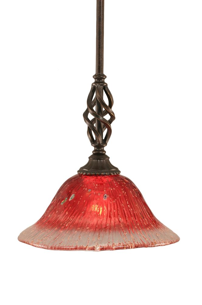 Concord 1 Light Ceiling Dark Granite Incandescent Pendant with a Raspberry Crystal Glass