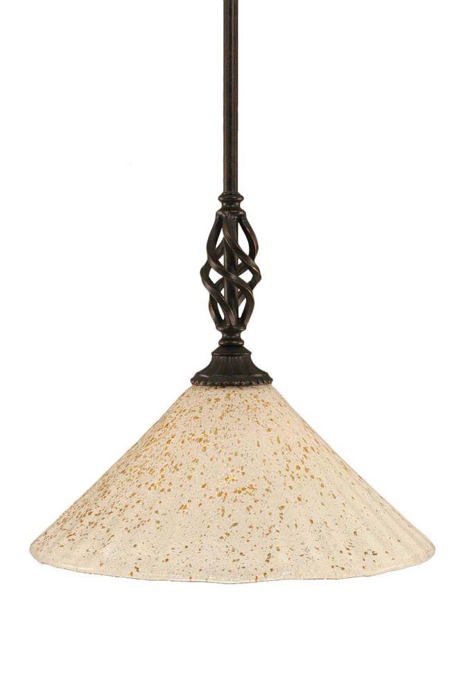Concord 1 lumière au plafond granite foncé Pendeloque à incandescence avec un cristal en verre d'...