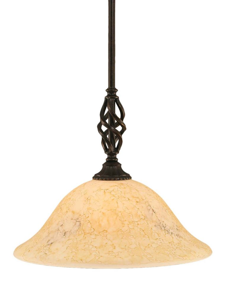 Concord 1-Light Ceiling Dark Granite Pendant with an Italian Marble Glass