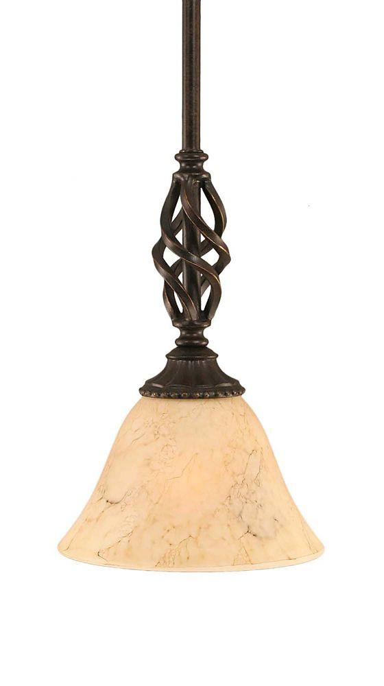 Concord 1 lumière au plafond granite foncé Pendeloque incandescence par une Marbre Verre italien