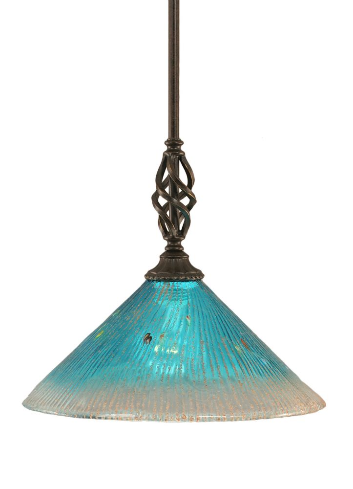 Concord 1-Light Ceiling Dark Granite Pendant with a Teal Crystal Glass