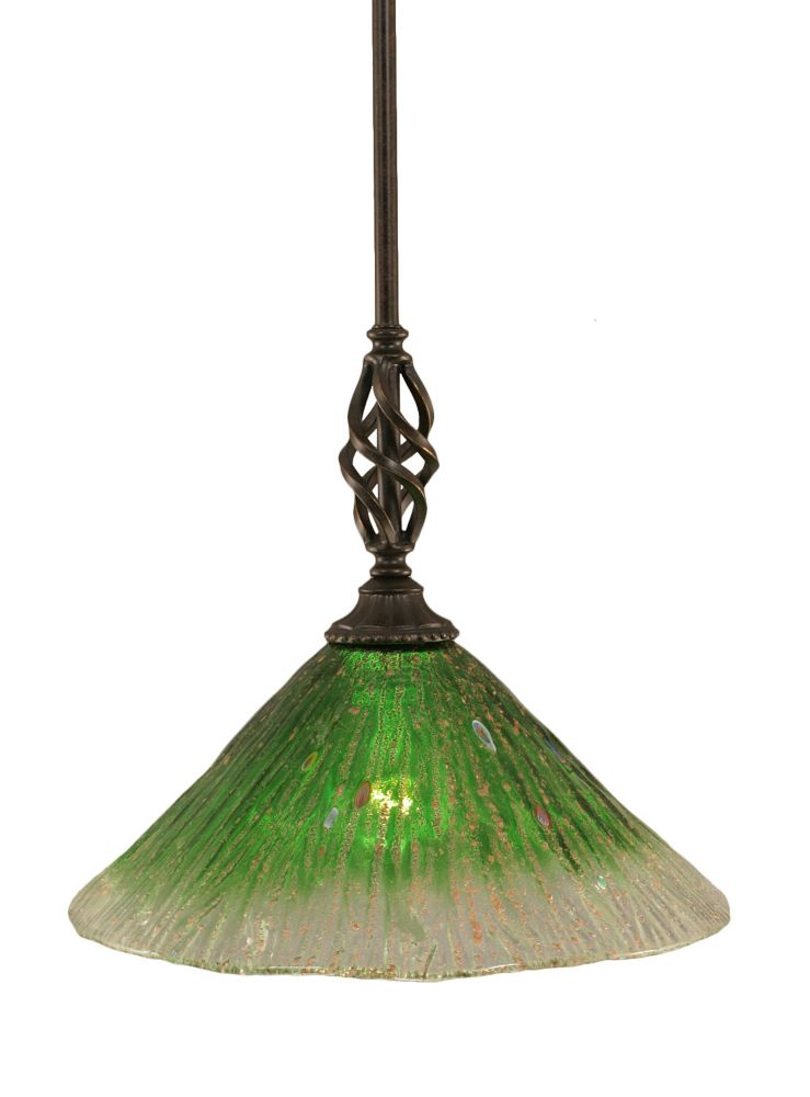 Concord 1-Light Ceiling Dark Granite Pendant with a Green Crystal Glass