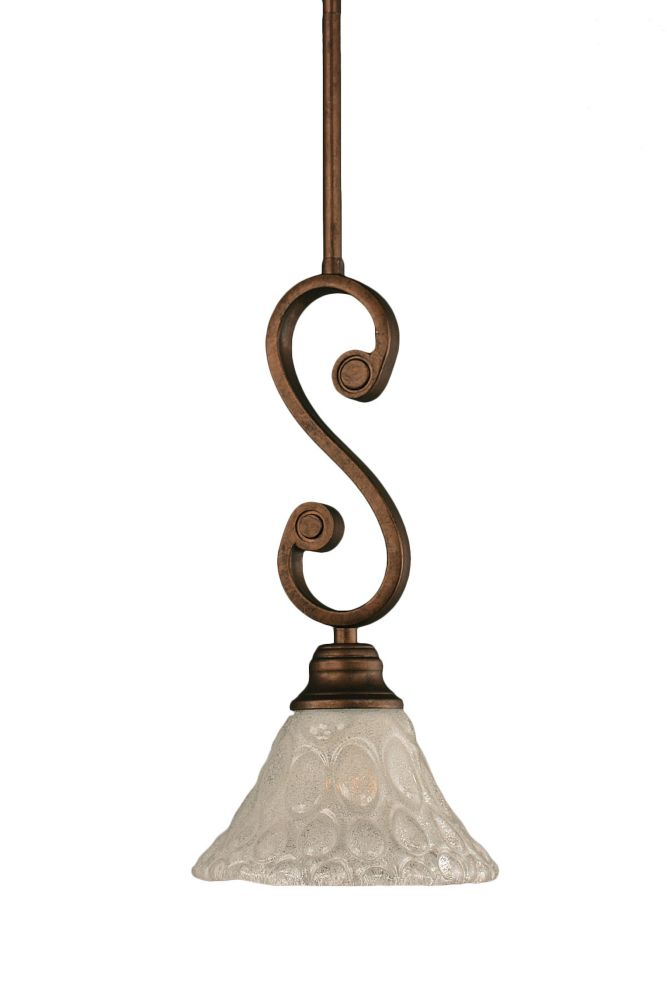 Concord 1 Light Ceiling Bronze Incandescent Pendant with a Clear Crystal Glass