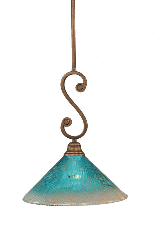 Concord 1 Light Ceiling Bronze Incandescent Pendant with a Teal Crystal Glass