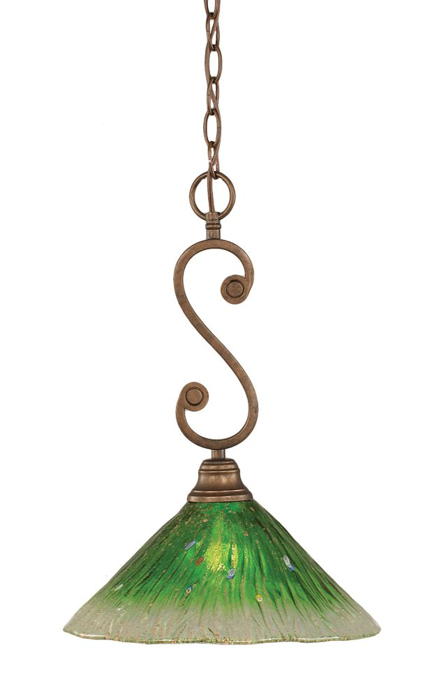 Concord 1-Light Ceiling Bronze Pendant with a Green Crystal Glass