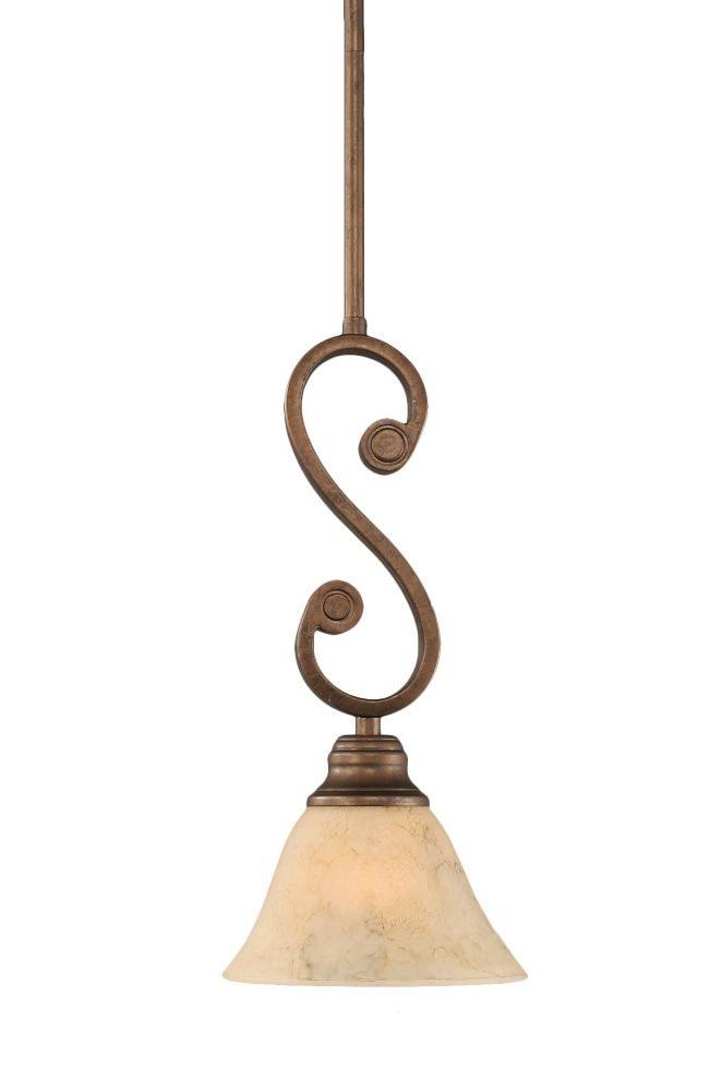 Concord 1-Light Ceiling Bronze Pendant with an Italian Marble Glass