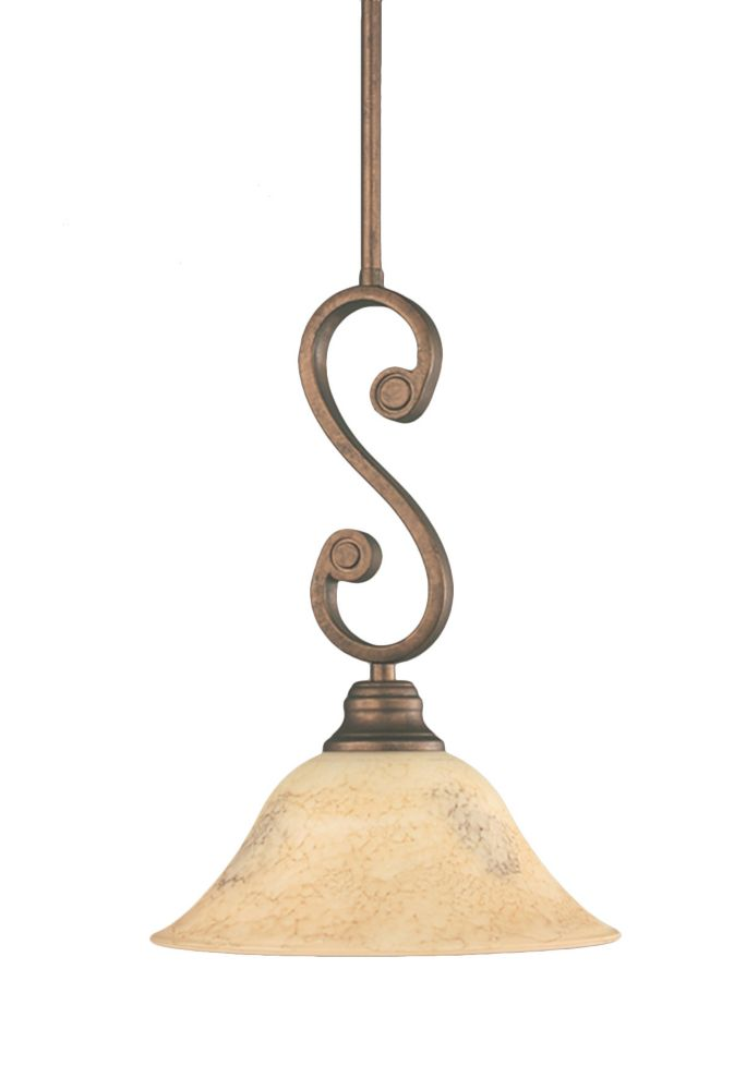 Concord 1 Light Ceiling Bronze Incandescent Pendant with an Italian Marble Glass