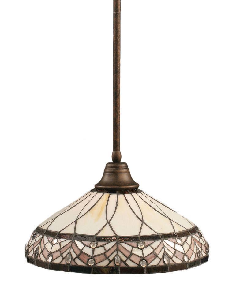 Concord 1-Light Ceiling Bronze Pendant with a Royal Merlot Tiffany Glass