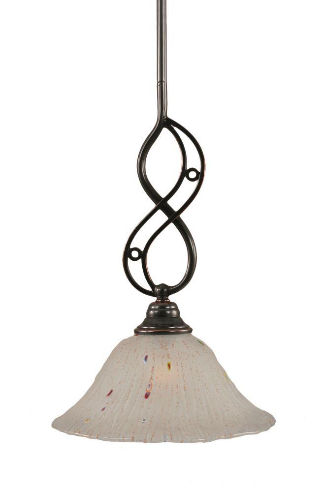 Concord 1 lumière au plafond Noir Copper Pendeloque incandescence par une Frosted Crystal