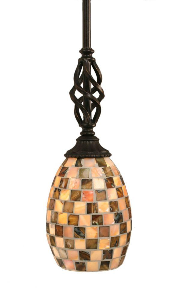 Concord 1 lumière au plafond granite foncé Pendeloque incandescence d'un verre de Seashell