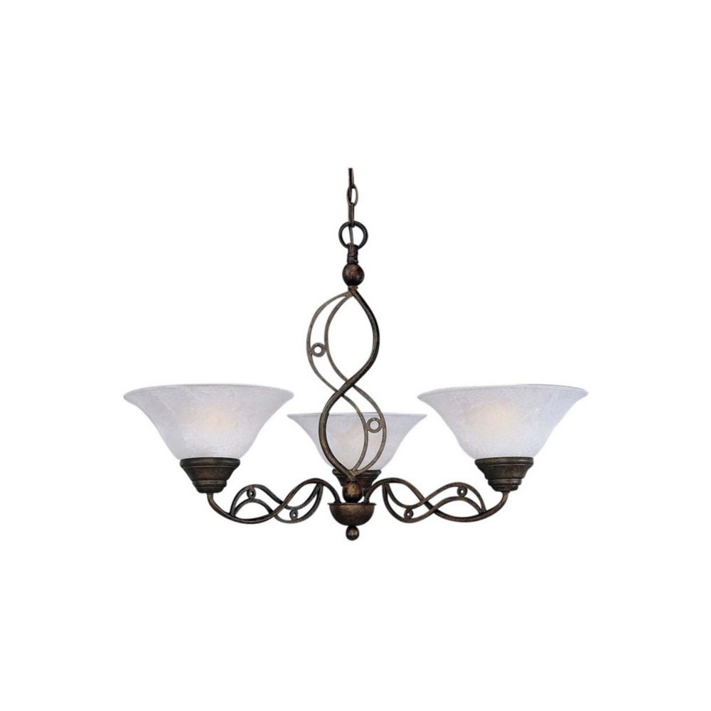 Concord 3 Light Ceiling Bronze Incandescent Chandelier with a White Marble Glass