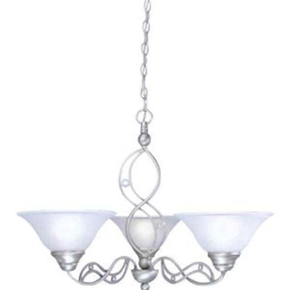 Concord plafond à 3 lumières Lustre à incandescence brossé Nickel avec un verre de rosée de baiss...