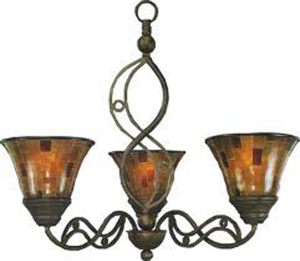 Concord 3-Light Ceiling Bronze Chandelier with a Penshell Resin Glass