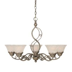 Filament Design Concord 5-Light Ceiling Brushed Nickel Chandelier with a White Marble Glass