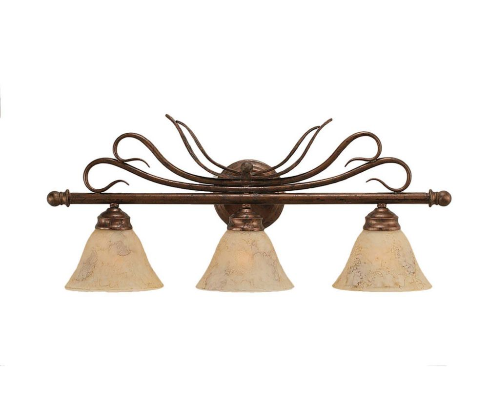 Concord 3 Light Wall Bronze Incandescent Bath Vanities with an Italian Marble Glass