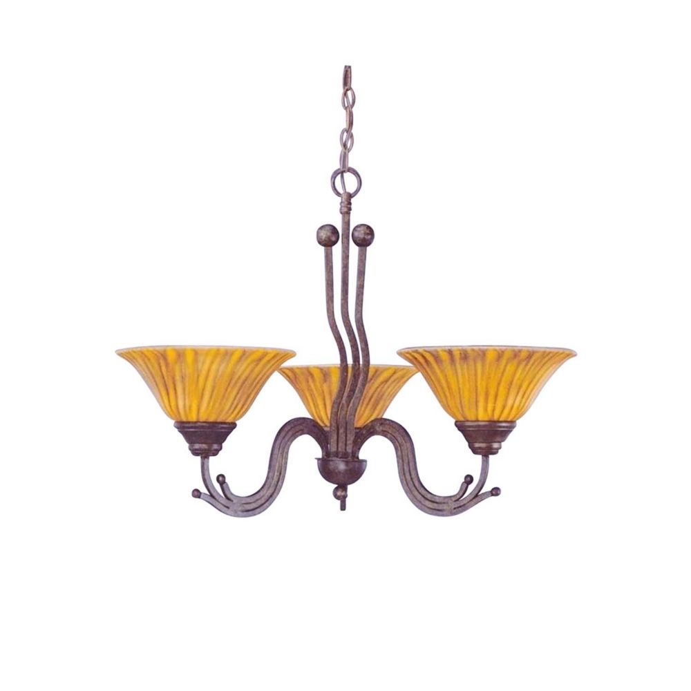 Concord 3-Light Ceiling Bronze Chandelier with a Tiger Glass