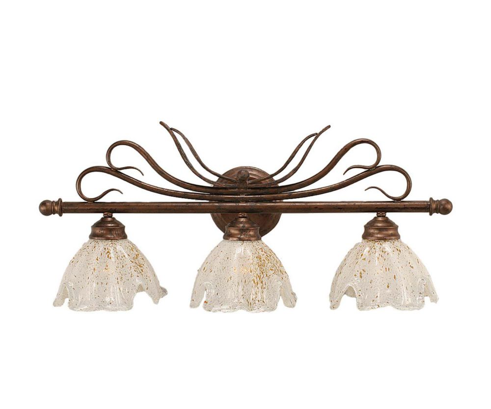 Concord 3 Light Wall Bronze Incandescent Bath Vanities with a Gold Crystal Glass