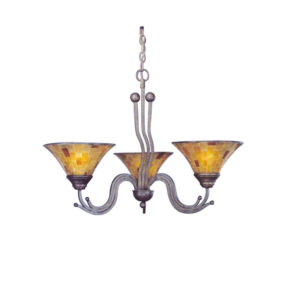 Concord 3 Light Ceiling Bronze Incandescent Chandelier with a Penshell Resin Glass