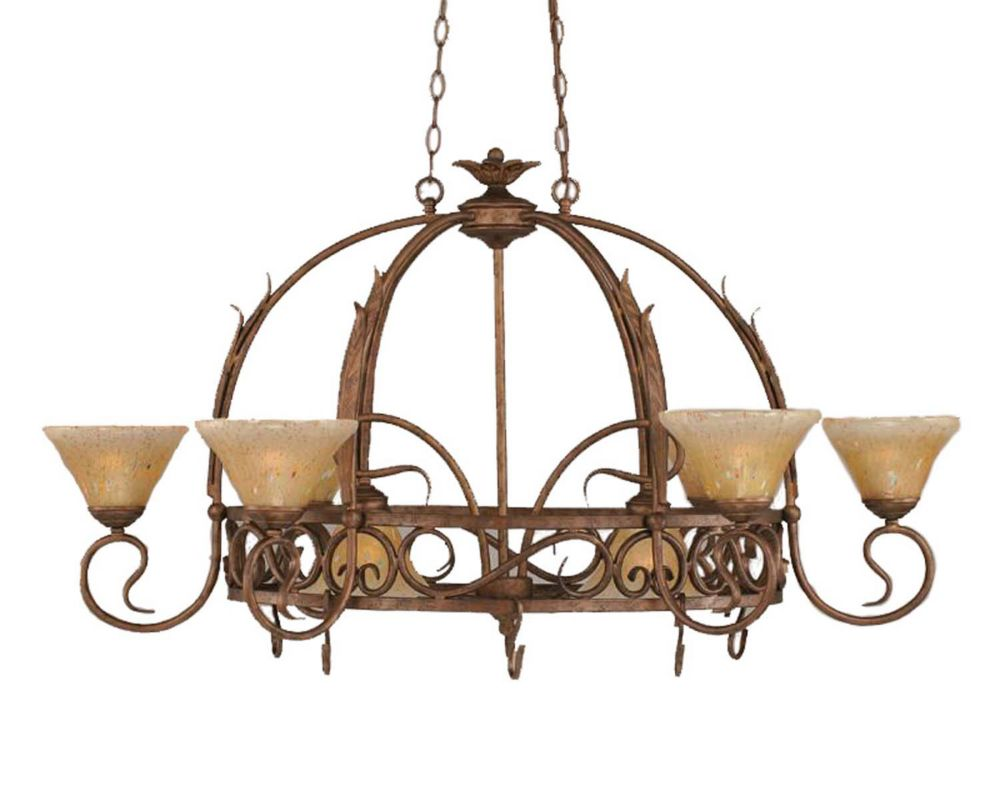 Concord 8 Light Ceiling Bronze Incandescent Chandelier with an Amber Glass