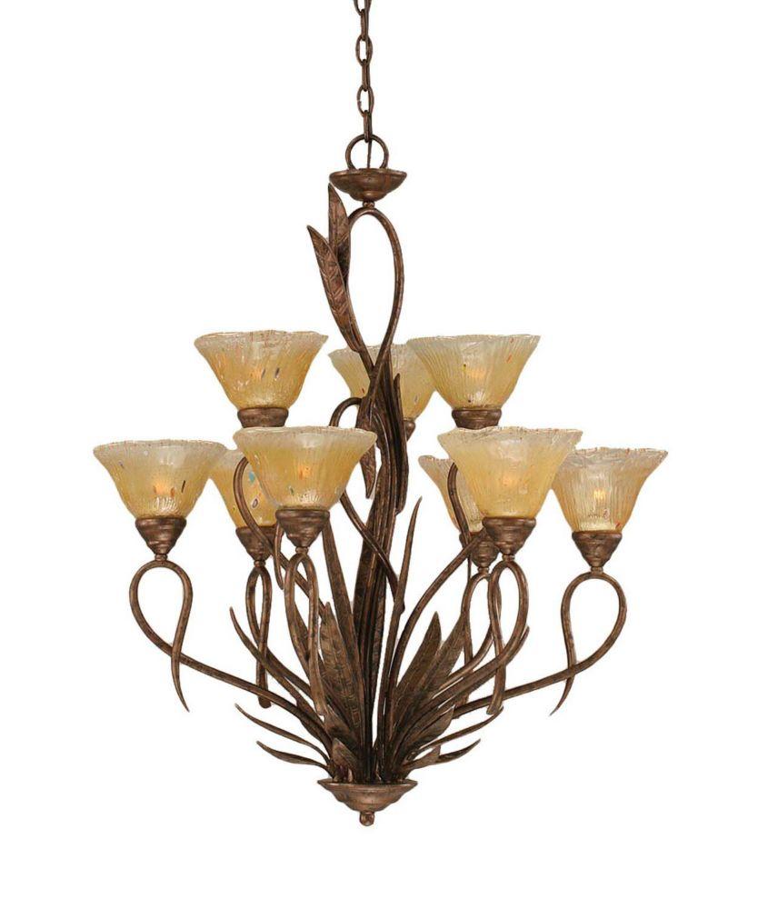 Concord 9 lumières plafond Bronze Lustre incandescence par un verre ambre