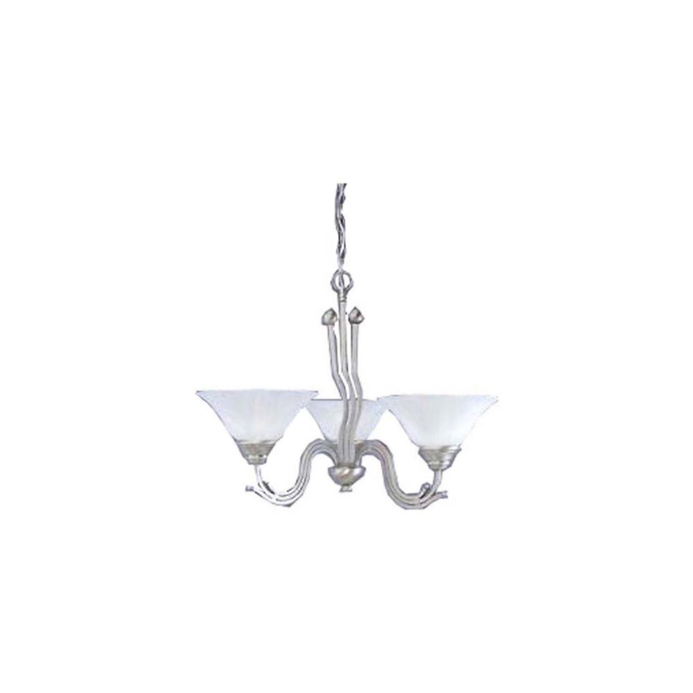 Concord 3 Light Ceiling Brushed Nickel Incandescent Chandelier with a White Marble Glass