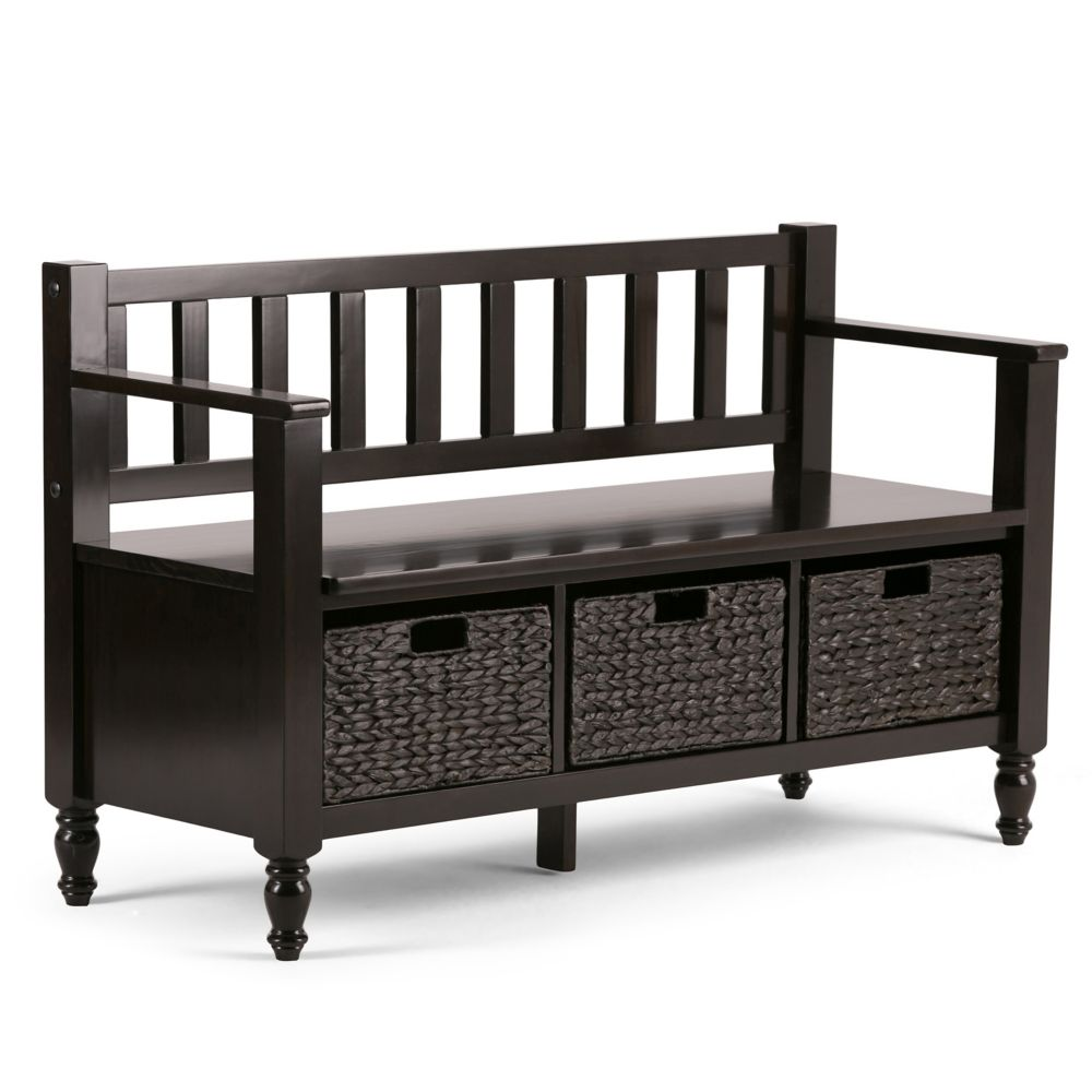 simpli home banc d 39 entr e de la collection dakota home. Black Bedroom Furniture Sets. Home Design Ideas
