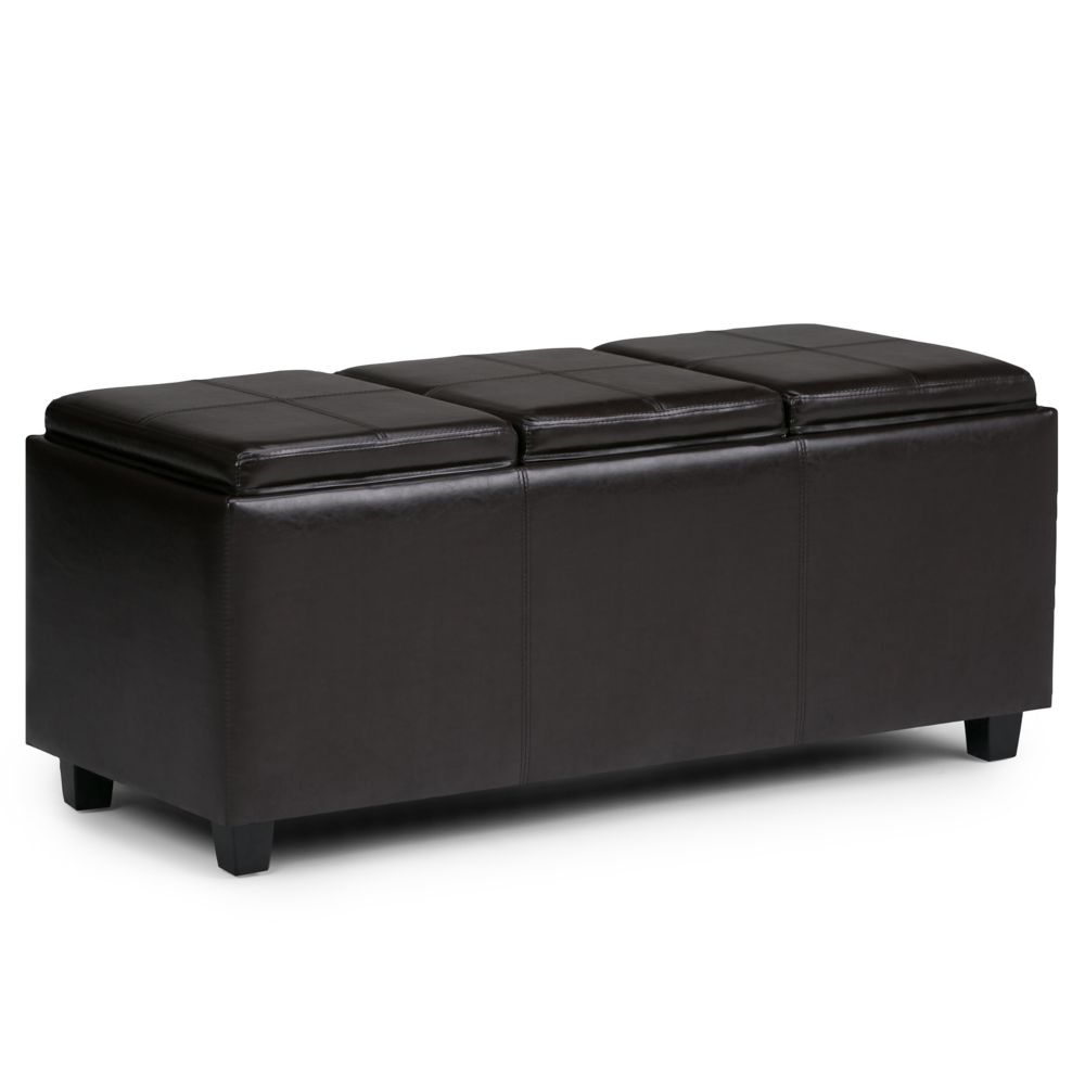 Avalon Collection Large Rectangular Storage Ottoman With 3 Serving Trays