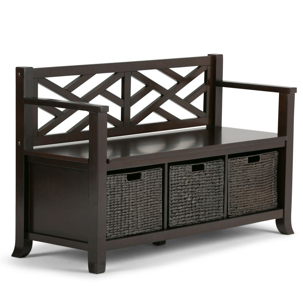 simpli home banc d 39 entr e de la collection adrien home depot canada. Black Bedroom Furniture Sets. Home Design Ideas
