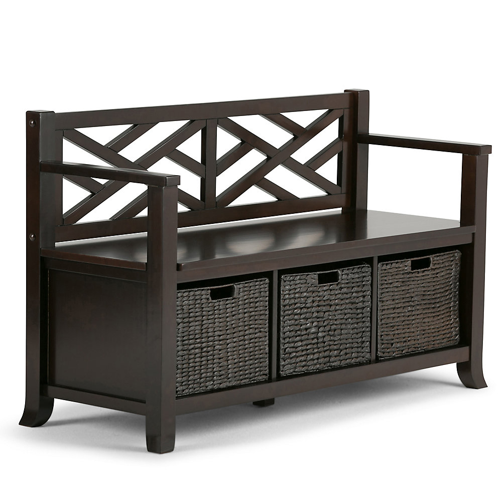 Adrian 48-inch x 29.5-inch x 18.5-inch Solid Wood Frame Bench in Brown